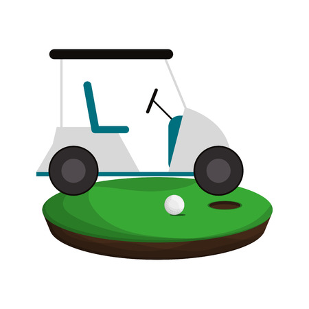 Golf cart on playing camp ball and hole vector illustration graphic design