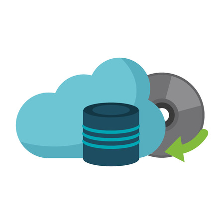 Cloud computing technology disk and cd rom vector illustration graphic design