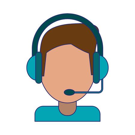 Man with headset avatar symbol vector illustration graphic design