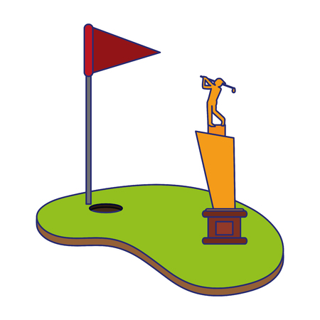 Golf camp with flag and cup vector illustration graphic design Vectores
