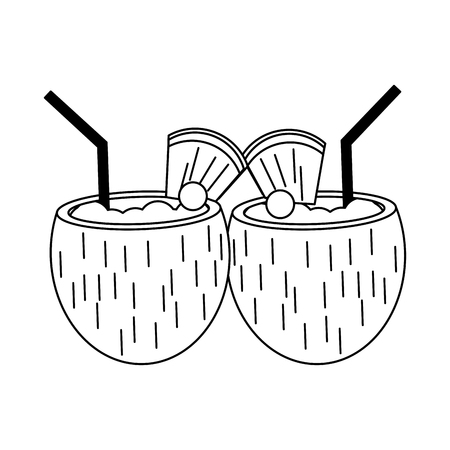 Coconuts tropical cocktails with pineapple and cherry vector illustration graphic design