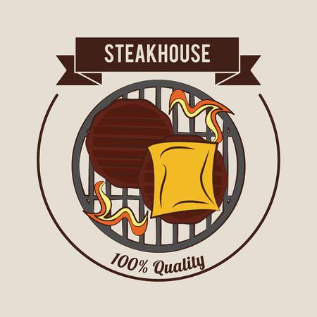Steakhouse bbq restaurant poster vector illustration graphic design Illustration