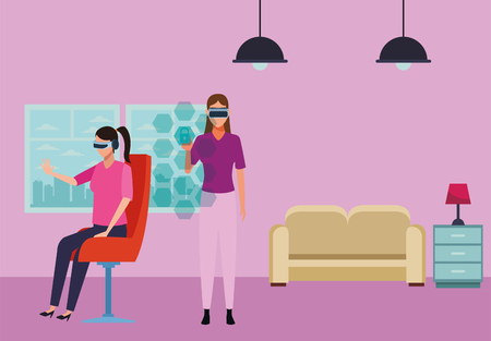 People playing with virtual reality glasses seated on chair inside living room scenery Ilustração