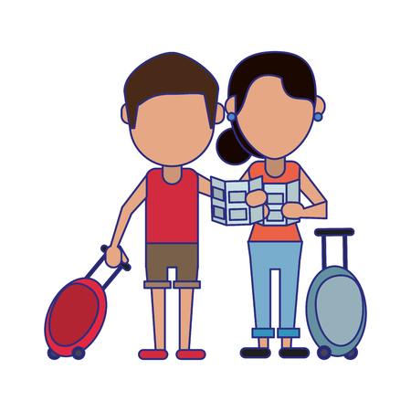 Couple of tourists avatar cartoon vector illustration graphic design