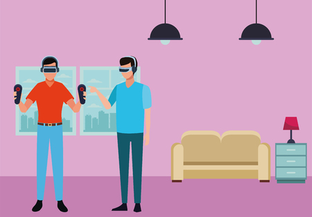 People playing with virtual reality glasses technology inside living room scenery