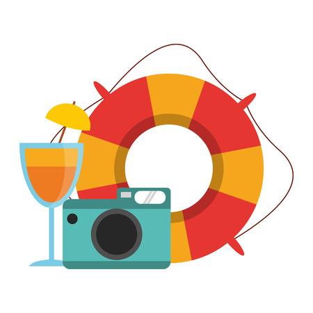 Travel and summer vacations camera and float with cocktail vector illustration graphic design