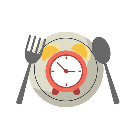 Restaurant dish with cutlery and alarm clock vector illustration graphic design