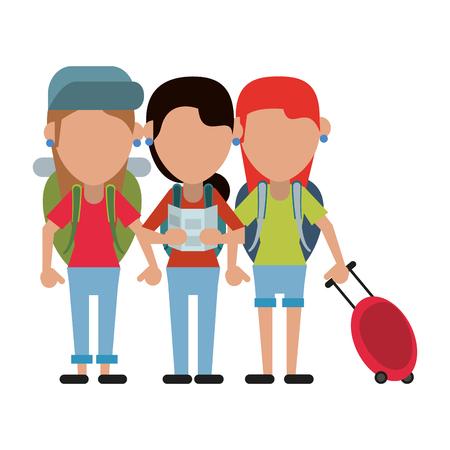 Tourist family avatar cartoon vector illustration graphic design Ilustracja