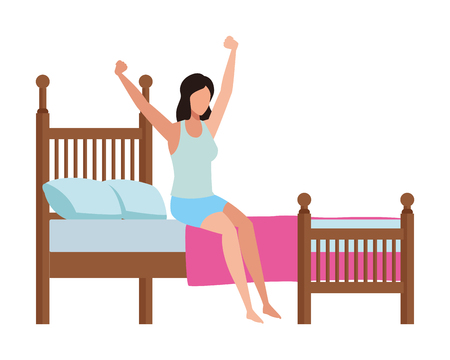 faceless woman waking up vector icon illustration graphic design