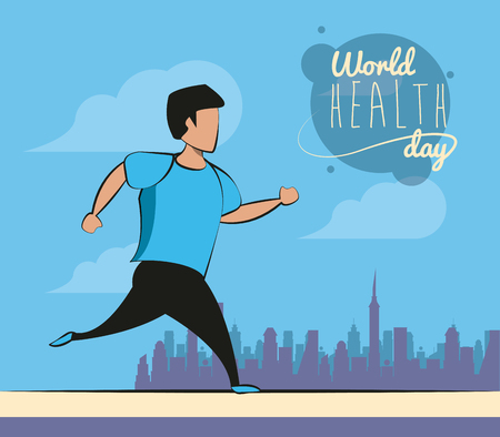 World healthy day card fitness man doing exercise vector illustration graphic design