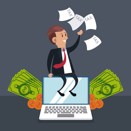 businessman with tax documents seated on laptop with money cartoons vector illustration graphic design