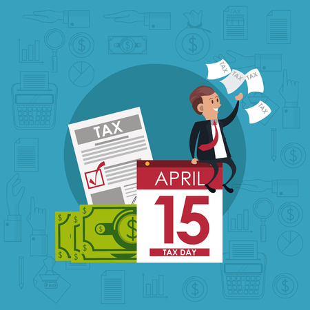 Tax day office symbols and business people cartoons vector illustration graphic design Illustration