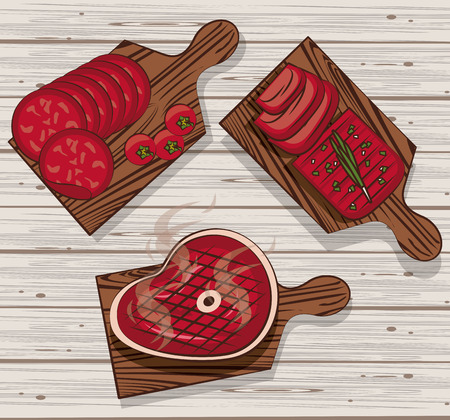 BBQ meat on cut tables with meats vector illustration graphic design Vector Illustration