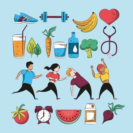 Fitness and healthy food collection set vector illustration graphic design