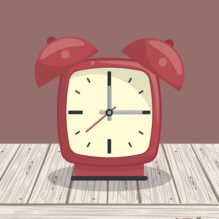Clock bells alarm on table cartoon
