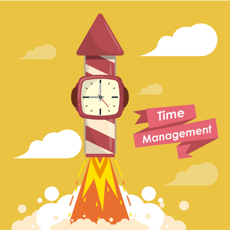 Time management concept with cartoons ribbon banner vector illustration graphic design