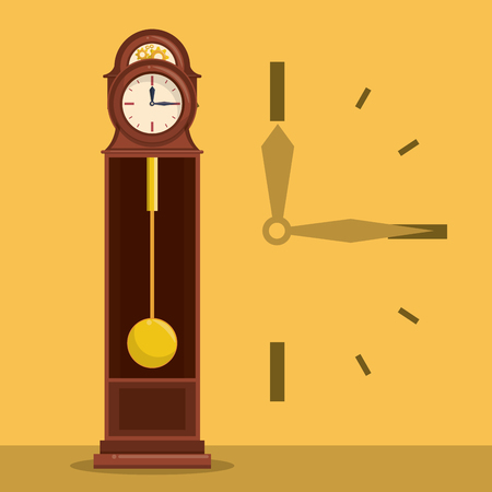Antique wooden clock with hands symbol yellow background vector illustration graphic design