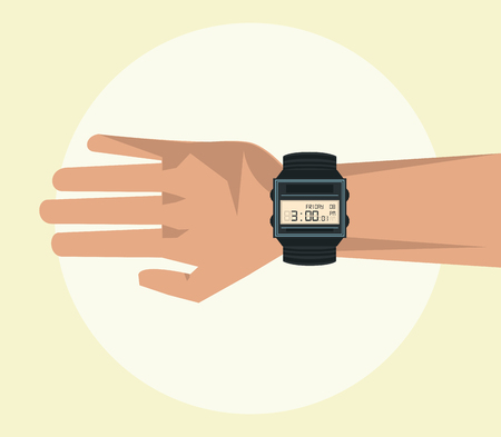 Hand with wristwatch visible cartoon blue background vector illustration graphic design