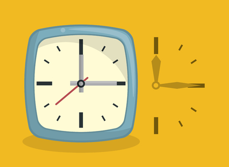 Clock with hands square frame over yellow background vector illustration graphic design
