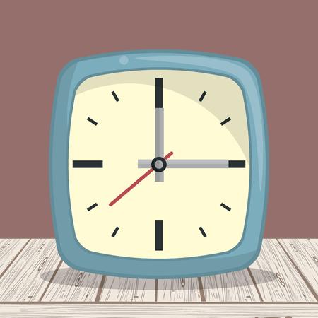 Clock square frame on table cartoons vector illustration graphic design Иллюстрация