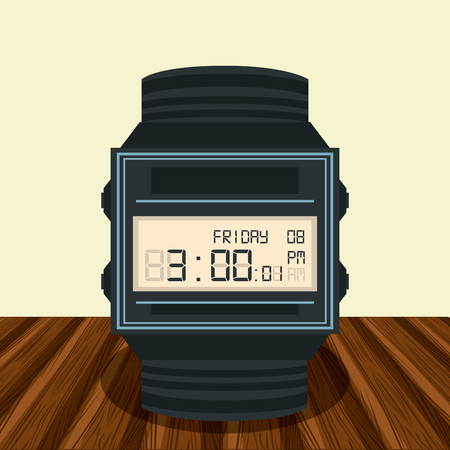 Digital clock on table cartoon vector illustration graphic design
