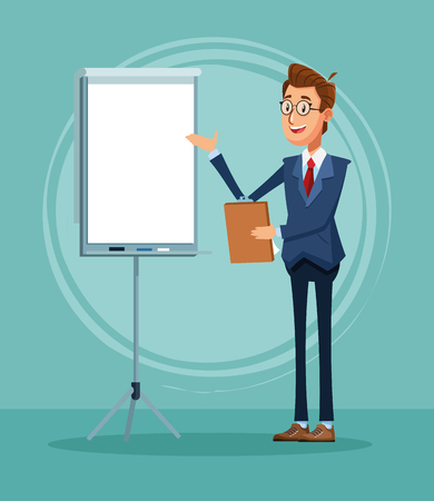 Businessman banker with whiteboard and clipboard cartoon vector illustration graphic design