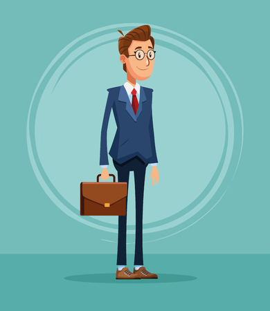 Businessman banker with briefcase cartoon vector illustration graphic design