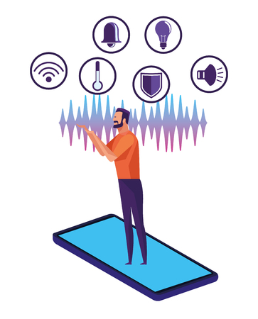 People using voice recognition digital technology vector illustration graphic design