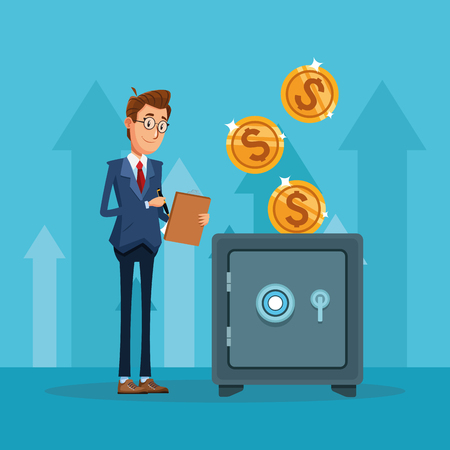 Businessman banker counting coins in strongbox cartoon vector illustration graphic design
