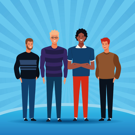young people over blue striped background cartoon vector illustration graphic design