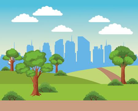 Urban cityscape scenery from park vector illustration graphic design