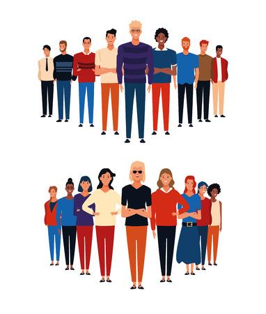 Groups of people white background cartoons vector illustration graphic design Ilustração Vetorial