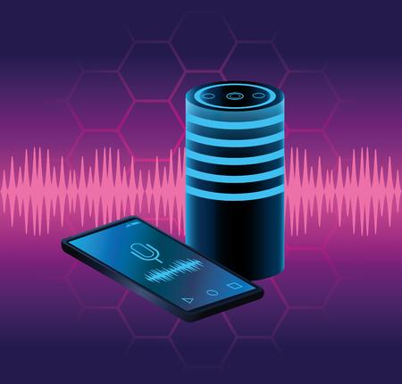 Smartphone voice recognition speaker over purples waves background vector illustration graphic design