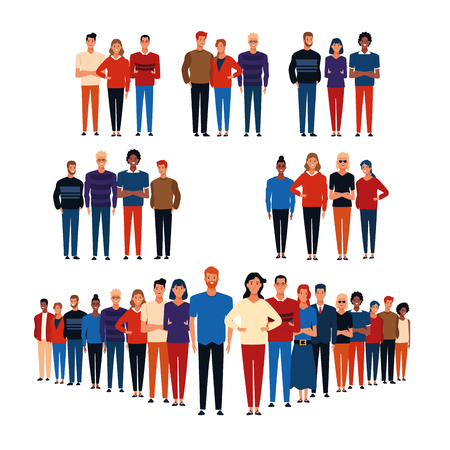 Groups of people white background cartoons vector illustration graphic design