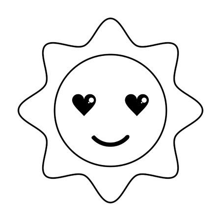 Sun in love cute  cartoon vector illustration graphic design