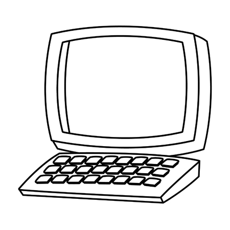 Desk computer with keyboard cartoon vector illustration graphic design
