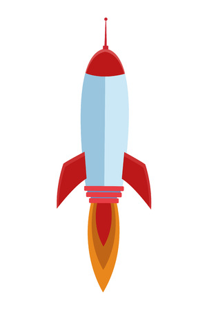 rocket taking off cartoon vector illustration graphic design