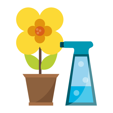 Gardening plants and tools flower in pot with water spray bottle