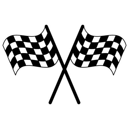 Les drapeaux de course ont traversé la conception graphique d'illustration vectorielle de symbole Vecteurs