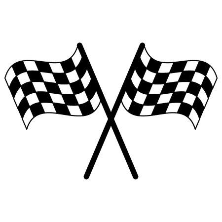 Racing flags crossed symbol vector illustration graphic design Vectores