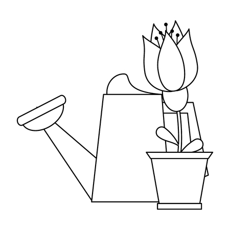 Gardening plants and tools water can and flower in pot Designe