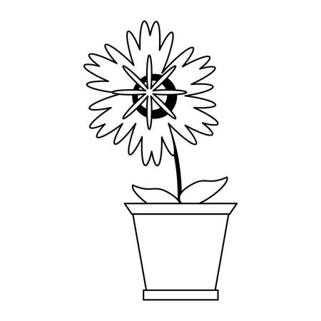 Flower in pot gardening cartoon isolated Designe Illustration
