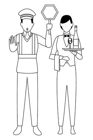 Jobs and professional workers in black and white vector illustration graphic design Vektoros illusztráció