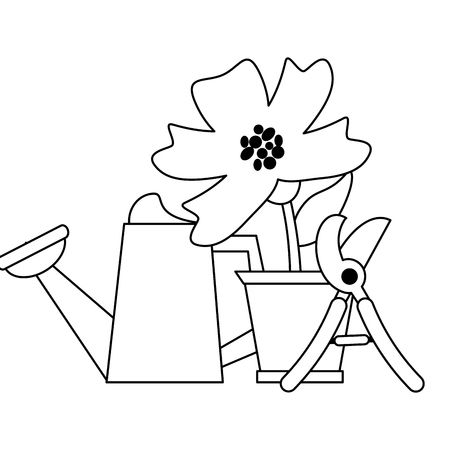 Gardening plants and tools watercan and scissor with flower in pot Designe Illustration