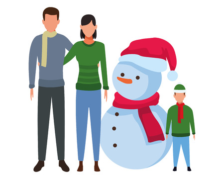 family with snowman christmas hat scarf and knitted cap vector illustration graphic design Иллюстрация