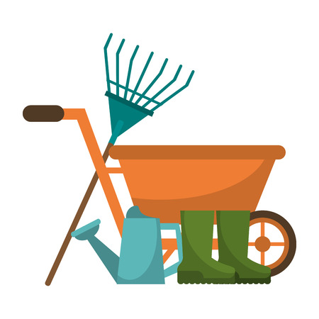 Gardening plants and tools wheelbarrow with water can and boots
