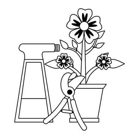 Gardening plants and tools flower pot and water srapy with scissors Designe Illustration