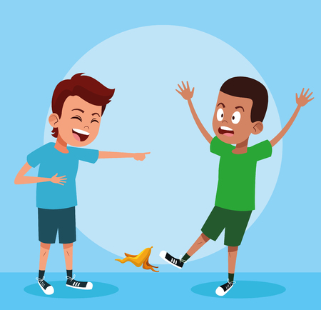 Kids boys laughing with jokes vector illustration graphic design