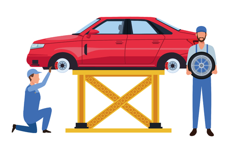 car service manufacturing workers assembling cartoon vector illustration graphic design