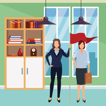 executive business women with success flag cartoon  inside office building scenery vector illustration graphic design Banco de Imagens - 118995573